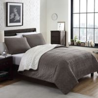 Cable Plush Reversible Full/Queen Quilt Set in Tan