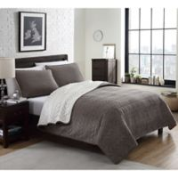 Cable Plush Reversible King Quilt Set in Tan
