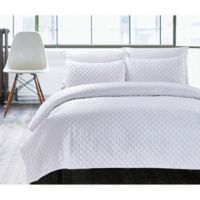 Hotel Diamond Twin Quilt Set in White