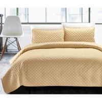 Hotel Diamond Twin Quilt Set in Gold