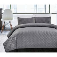 Hotel Diamond Twin Quilt Set in Charcoal