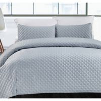 Hotel Diamond King Quilt Set in Silver