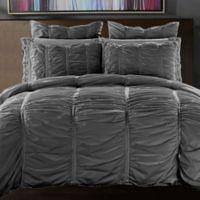 Ruffle Full/Queen Duvet Cover Set in Charcoal Grey