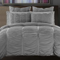 Ruffle King Duvet Cover Set in Silver