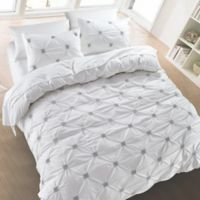 Diamond Pintuck Full/Queen Duvet Cover Set in White