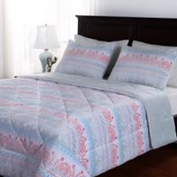 Berkshire Blanket® Elaborately Printed Full/Queen Reversible Comforter Set in Light Blue