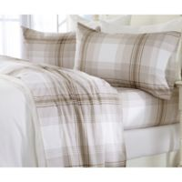 Great Bay Home Plaid Flannel Twin Sheet Set in Taupe