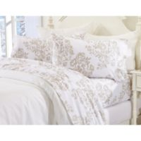 Great Bay Home Floral Toile Flannel Twin Sheet Set in Taupe