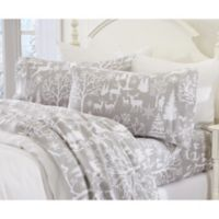 Great Bay Home Enchanted Woods Flannel Full Sheet Set in Grey