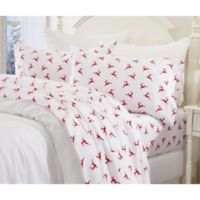 Great Bay Home Reindeer Flannel Full Sheet Set in Red/White