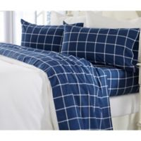Great Bay Home Grid Print California King Flannel Sheet Set in Navy/White