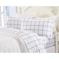 Great Bay Home Plaid Twin XL Flannel Sheet Set in Grey/White