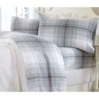 Great Bay Home Printed King Flannel Sheet Set in Grey Plaid