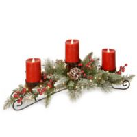 National Tree Company® 30-Inch Snowy Bristle Berry Centerpiece with 3 Candles