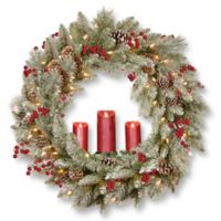 National Tree Company® 36-Inch Snowy Bristle Berry Wreath with 3 Battery-Operated Candles