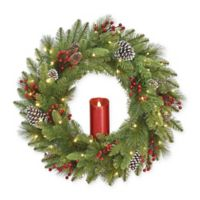 National Tree Company® 24-Inch Bristle Berry Candle Wreath with Warm White Lights