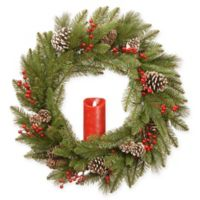 National Tree Company® 24-Inch Bristle Berry Wreath with Battery-Operated Candle