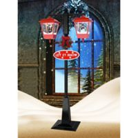 Fraser Hill Farm 5.9-Foot Double Musical Lamp Post in Green/Red