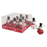 9-Count Snowman Bell Ornament Set in Red