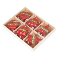 12-Count Holiday Shape Ornament Set in Red