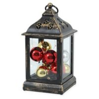 Square Holiday Ornament Lantern in Red/Silver/Gold