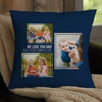 For Him 3-Photo Collage Personalized 18-Inch Square Throw Pillow