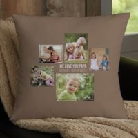 For Him 5-Photo Collage Personalized 18-Inch Square Throw Pillow