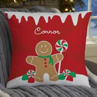 Gingerbread Family Personalized 18-Inch Square Throw Pillow