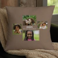 For Him 4-Photo Collage Personalized 18-Inch Square Throw Pillow