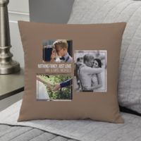 Wedding 3-Photo Collage Personalized 14-Inch Square Throw Pillow
