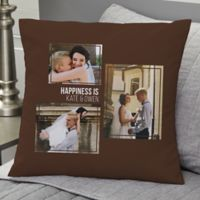 Wedding 3-Photo Collage Personalized 18-Inch Square Throw Pillow