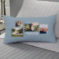 Wedding 4-Photo Collage Personalized Lumbar Throw Pillow