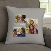 For Her 3-Photo Collage Personalized 14-Inch Square Throw Pillow