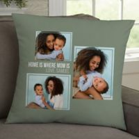 For Her 3-Photo Collage Personalized 18-Inch Square Throw Pillow
