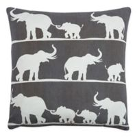 Rizzy Home Elephants Square Throw Pillow in Charcoal