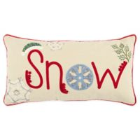 Rizzy Home Snow Oblong Throw Pillow in Beige/Red