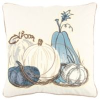 Rizzy Home Pumpkins Square Throw Pillow in Ivory/Blue