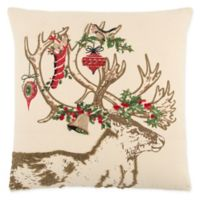 Rizzy Home Christmas Deer Square Throw Pillow in Ivory/Red