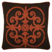 Rizzy Home Medallion Square Throw Pillow in Brown