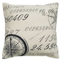 Rizzy Home Compass Script Square Throw Pillow in Cream
