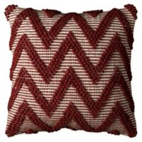 Rizzy Home Chevron Reversible Square Throw Pillow in Red/Ivory
