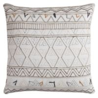 Rizzy Home Tribal Global Traveler Square Throw Pillow in Ivory/Grey