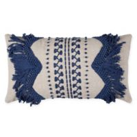 Rizzy Home Zig-Zag Stripe Oblong Throw Pillow in Blue/Natural