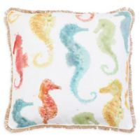 Thro Jackie Seahorse Square Throw Pillow in Rainbow