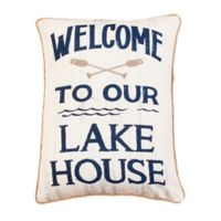 Thro Welcome To Our Lake House Oblong Throw Pillow in Natural