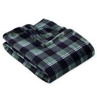 Berkshire Blanket® Plaid VelvetLoft Throw Blanket in Green