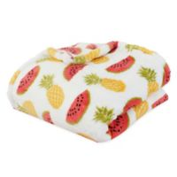 Priscilla Pineapple & Watermelon Throw Blanket in White
