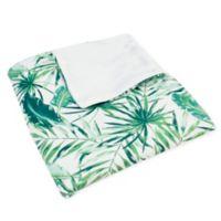 Thro Moki Leaves Printed Throw Blanket in Green