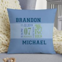 Baby Boy's Big Day Personalized 14-Inch Square Keepsake Pillow