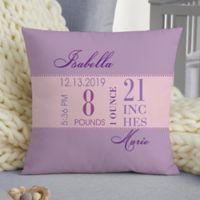 Baby Girl's Big Day Personalized 14-Inch Square Keepsake Pillow